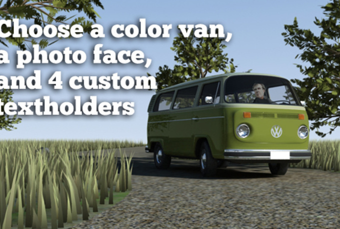 make a movie with your face, your text and custom VW van