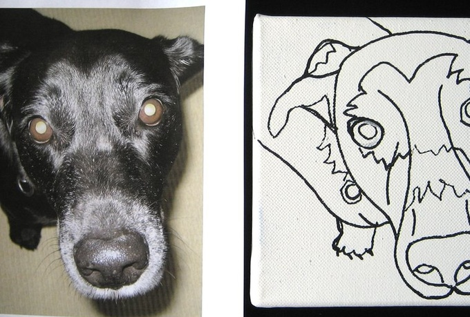Line Drawing Dog Face : Draw a contour line drawing of your dogs face fiverr