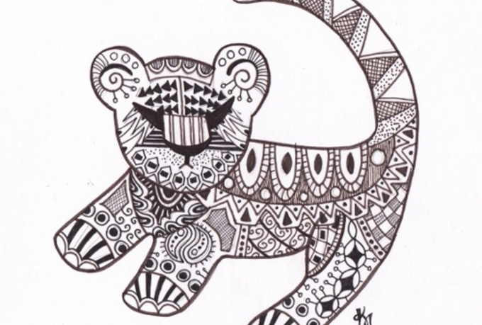 draw an animal of your choice with retro designs in it