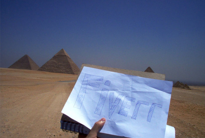 write any message on a paper at the sphinx or the great Egyptian pyramids
