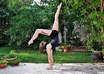 do an acrobatic pose to promote your logo\business
