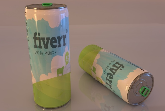 create a 3d soda can or an energy drink with your logo