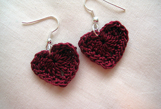 crochet dainty HEART Earrings