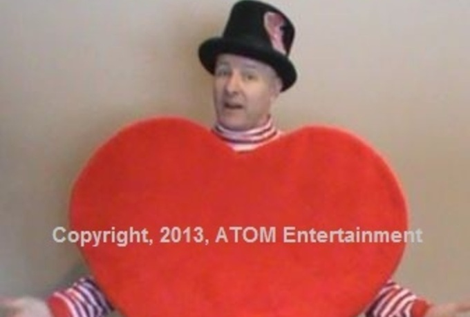 wear a Giant Heart and wish Happy Valentines Day
