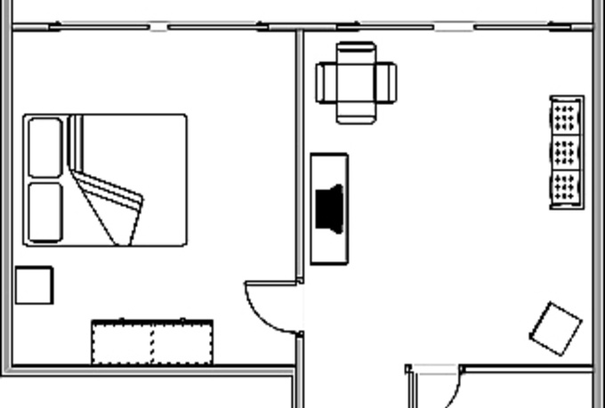 Create a simple and professional single page floor plan for Draw office floor plan