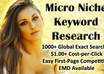 provide you an micro niche site keyword with 1000+ global exact searches, easy competition, 1+ cpc, and EMD available small1