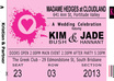 create a unique wedding or party invitation as a music or concert ticket