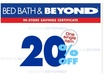 email 5 bed bath and beyond 20 percent off coupons