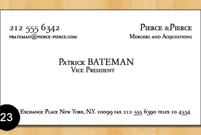 Give you patrick batemans business card template fiverr for Patrick bateman business cards