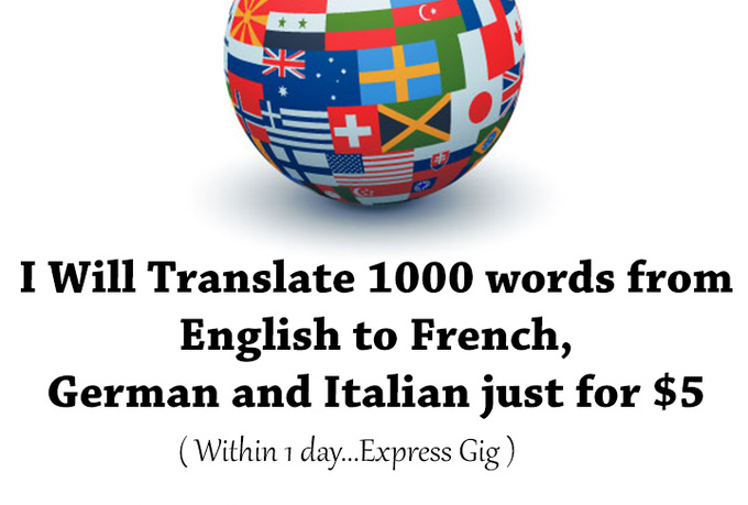 Words In Italian Translated To English: TrANSLATE 1000 Words From English To French , German And