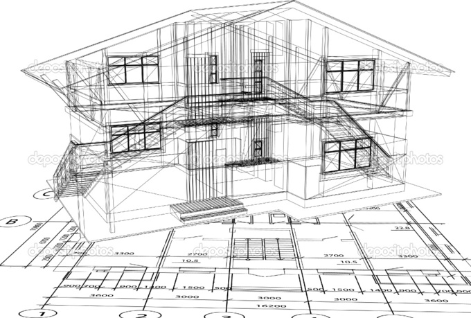 Depositphotos 4357444 Architecture Blueprint Of A House Vector Autocad Building Plan Drawing 1 On Autocad Building
