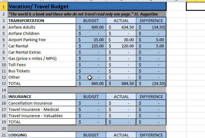 email a travel budget spreadsheet fiverr. Black Bedroom Furniture Sets. Home Design Ideas