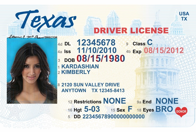 send you send you costumized Texas drivers license PSD template for  5 d0tluNye