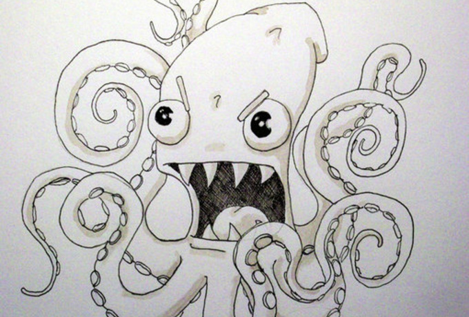 angry octopus drawing - photo #5