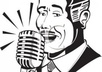 A_black_and_white_cartoon_radio_announcer_talking_over_a_microphone_royalty_free_clipart_picture_110108-155011-801053