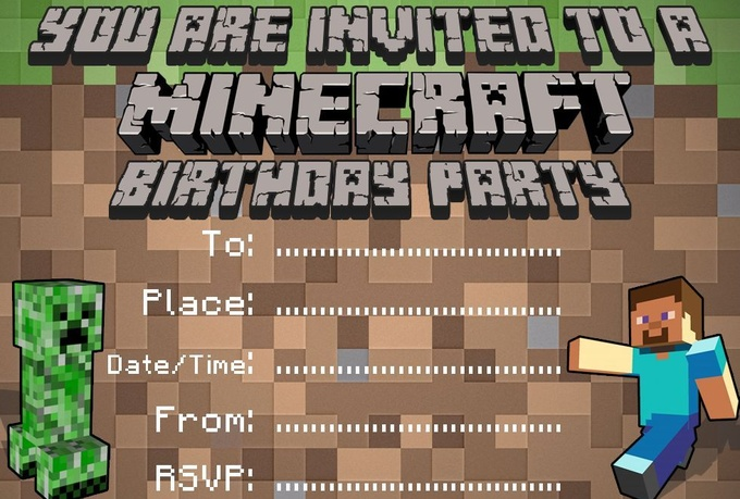 Minecraft Party Invitations Template  Ilcastello