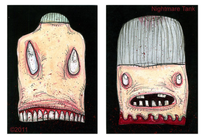 make a horror head art card, an original monster ACEO