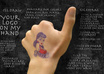 draw your logo and write your message on my hand and give you thumbs up