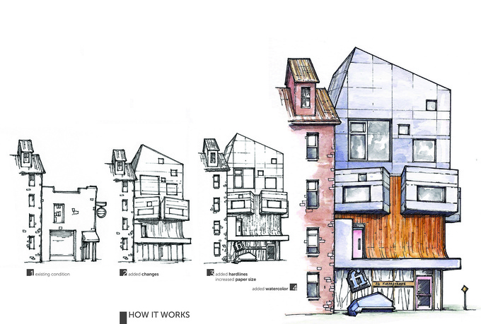 hand draw your architectural project in perspective