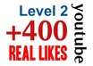 [level 2] provide 400+ Real Human YouTube Likes for your videos within 2 days